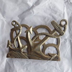 Vintage Brass Anchor Letter Holder Napkin Holder